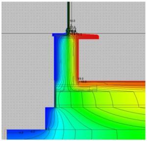 SIMULAZIONE TERMICA. Con temperatura esterna di 3,3 °C e del terreno di 13,8 °C, la temperatura interna superficiale sull'attacco serramento-parete-pavimento è pari a 20 °C.
