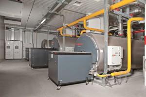 I TRE GENERATORIper acqua calda Vitomax 200-LW tipo M62A supportano il cogeneratore nel riscaldamento.