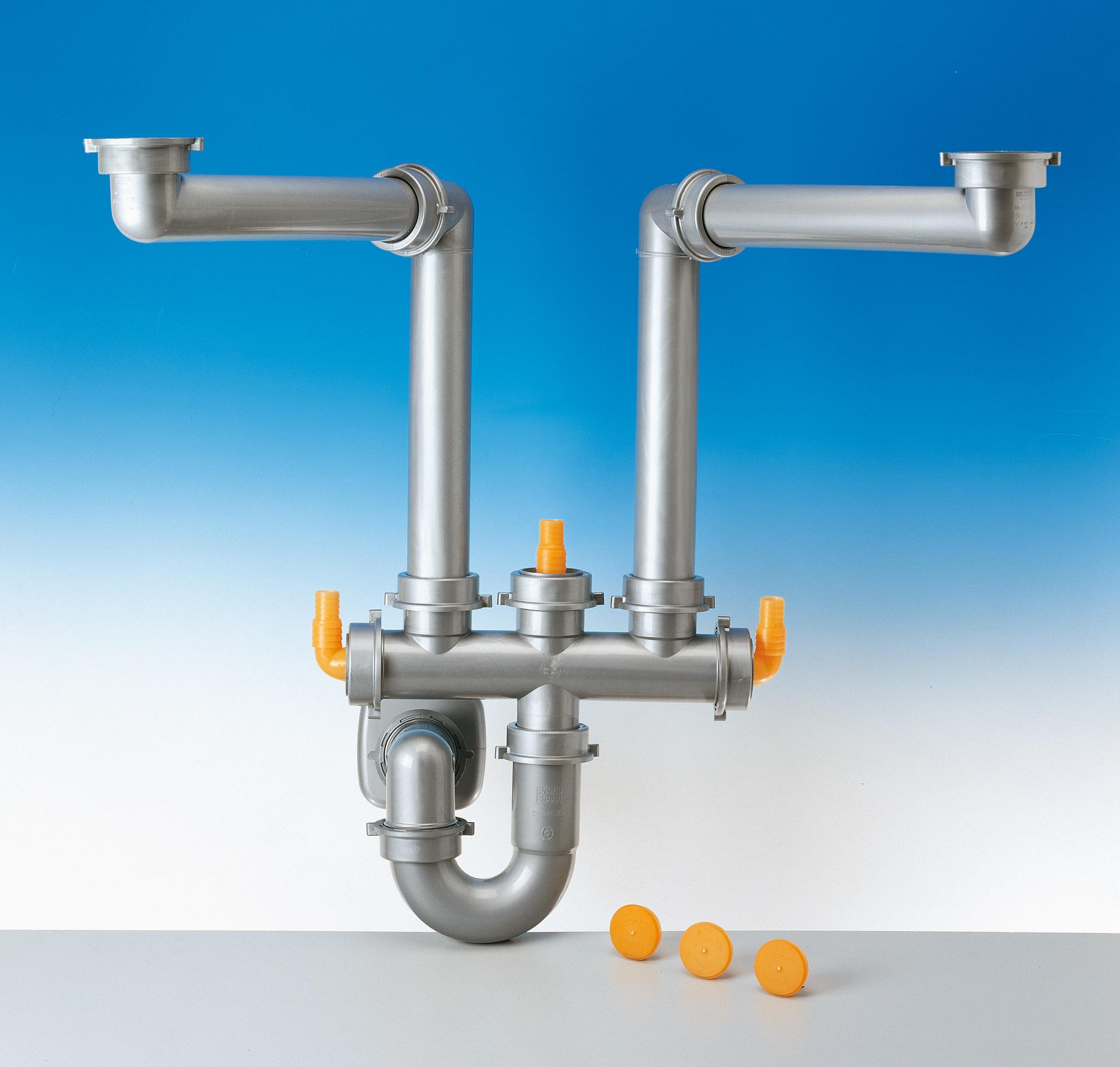 Sifone salvaspazio per lavelli a due vasche gt il giornale del termoidraulico - Sifone lavandino cucina ...