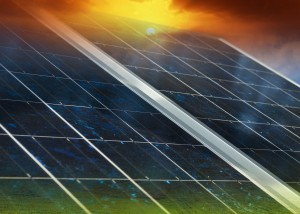 Gradient solar panel with sunset and green field background