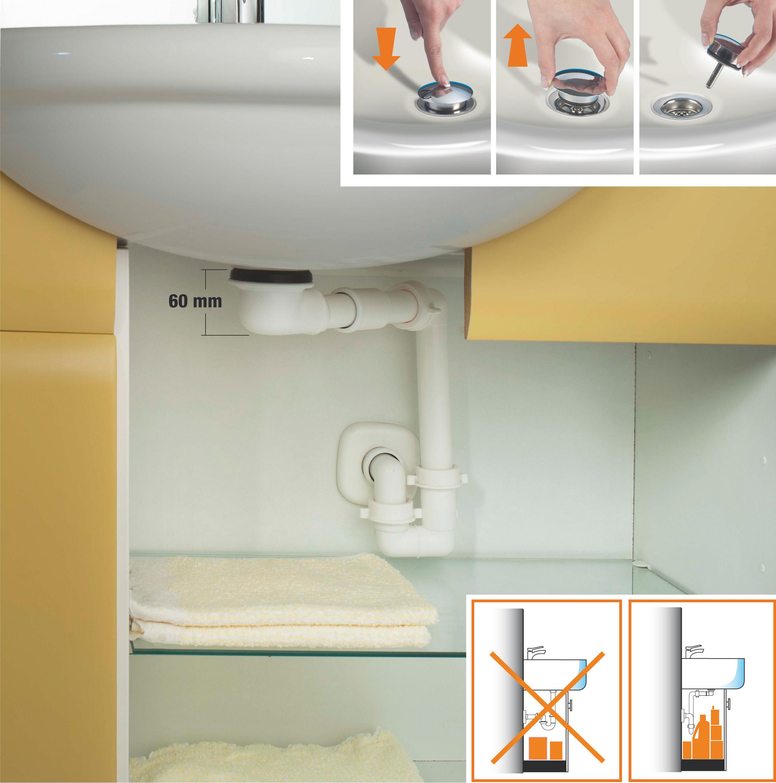 Kit sifone pi piletta con tappo di chiusura no problem di lira - Tubazioni bagno ...