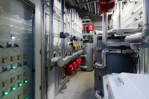 IL LOCALE TECNICO dove si trovano 2 unità Hidros pompa di calore a scambio geotermico.