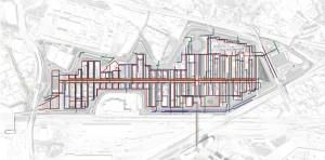 Il sito espositivo con le reti impiantistiche: le dorsali di distribuzione dell'acqua potabile e sanitaria (arancione e marrone) sotto il Decumano